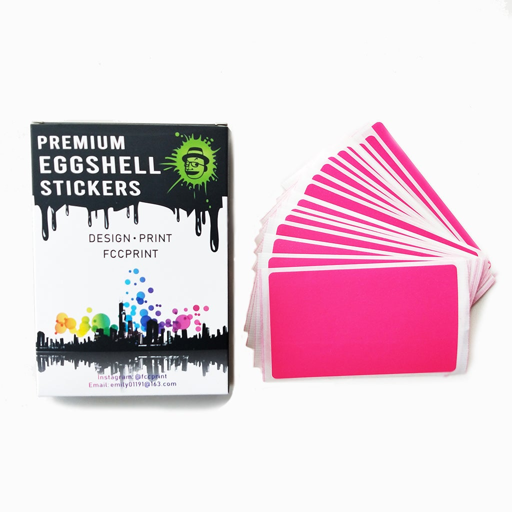 Image of Free Shipping Worldwide Blank Fluorescent Pink Eggshell Stickers 50/100/200pcs