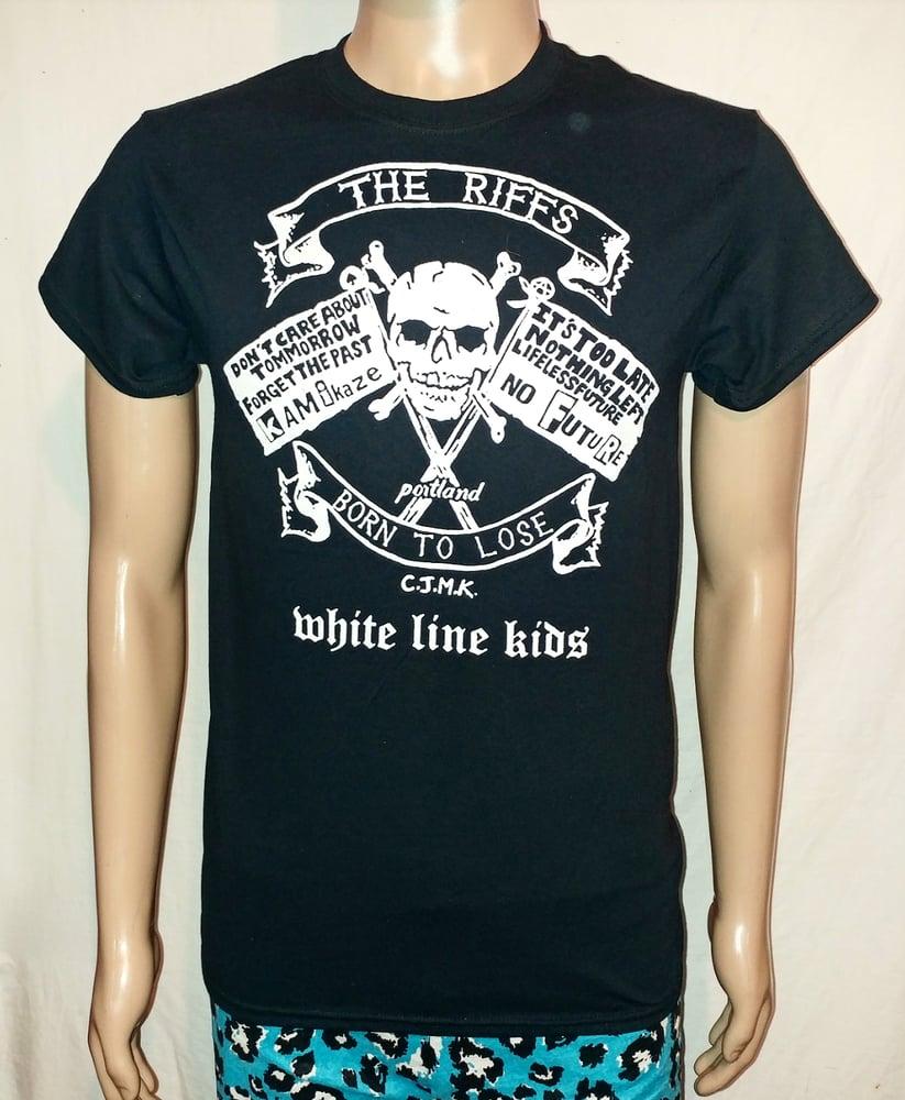 Image of The Riffs White Line Kids black tshirt