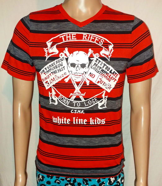 Image of The Riffs White Line Kids red black striped tshirt size Small