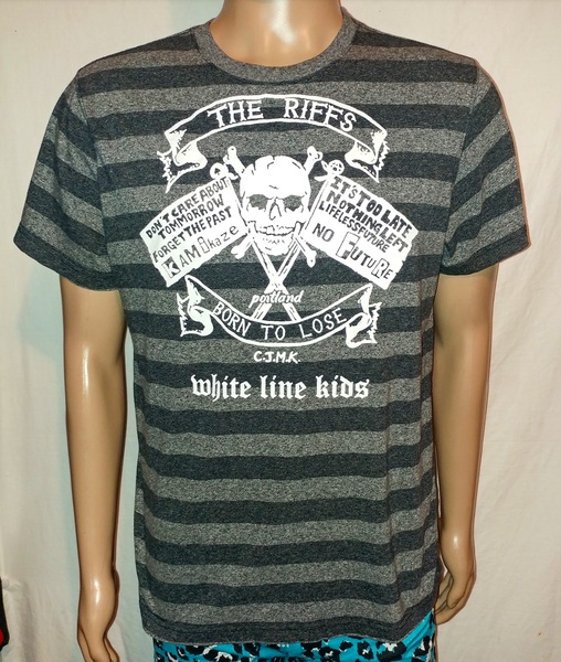 Image of The Riffs White Line Kids gray charcoal striped tshirt size Medium