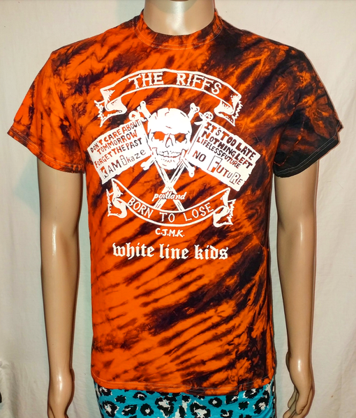 Image of The Riffs White Line Kids tiger stripe dyed tshirt size Medium