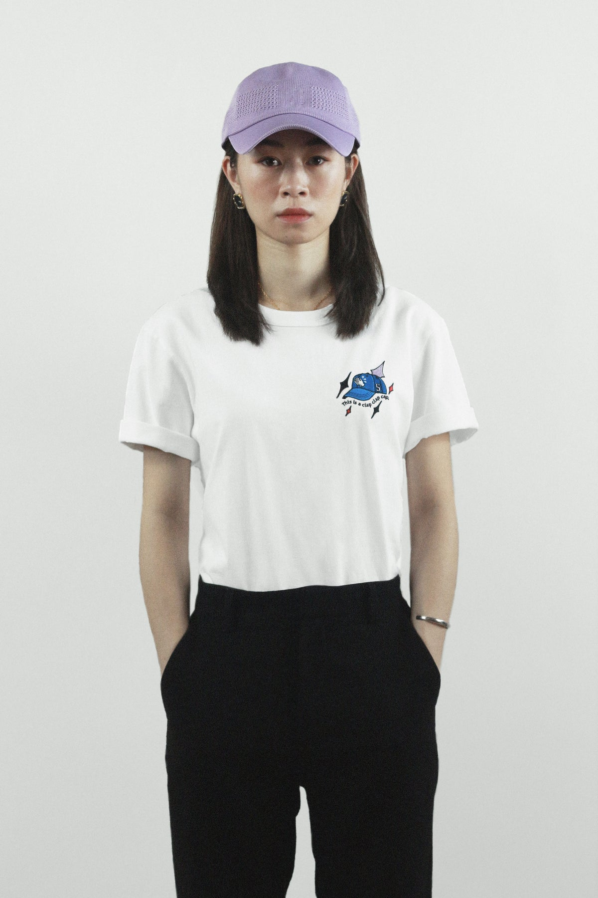 "Graphic Embroidery Tee - ""Clap Clap Cap"" Embroidery Tee"