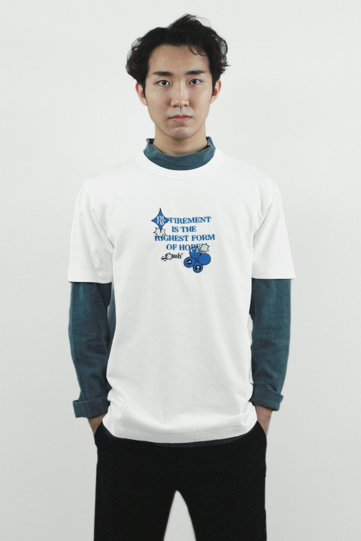 "Graphic Embroidery Tee - ""Retirement Is The Highest Form Of Hope"" Embroidery Tee"