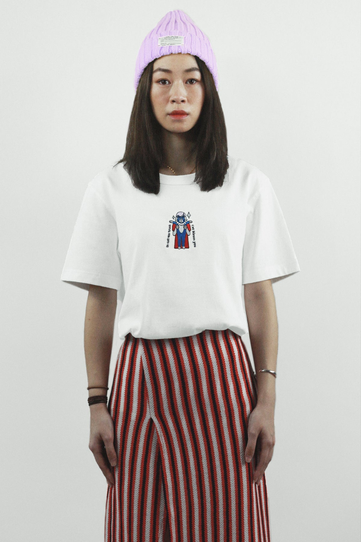 """Image of """"In Cat We Trust"""" Embroidery Tee"""