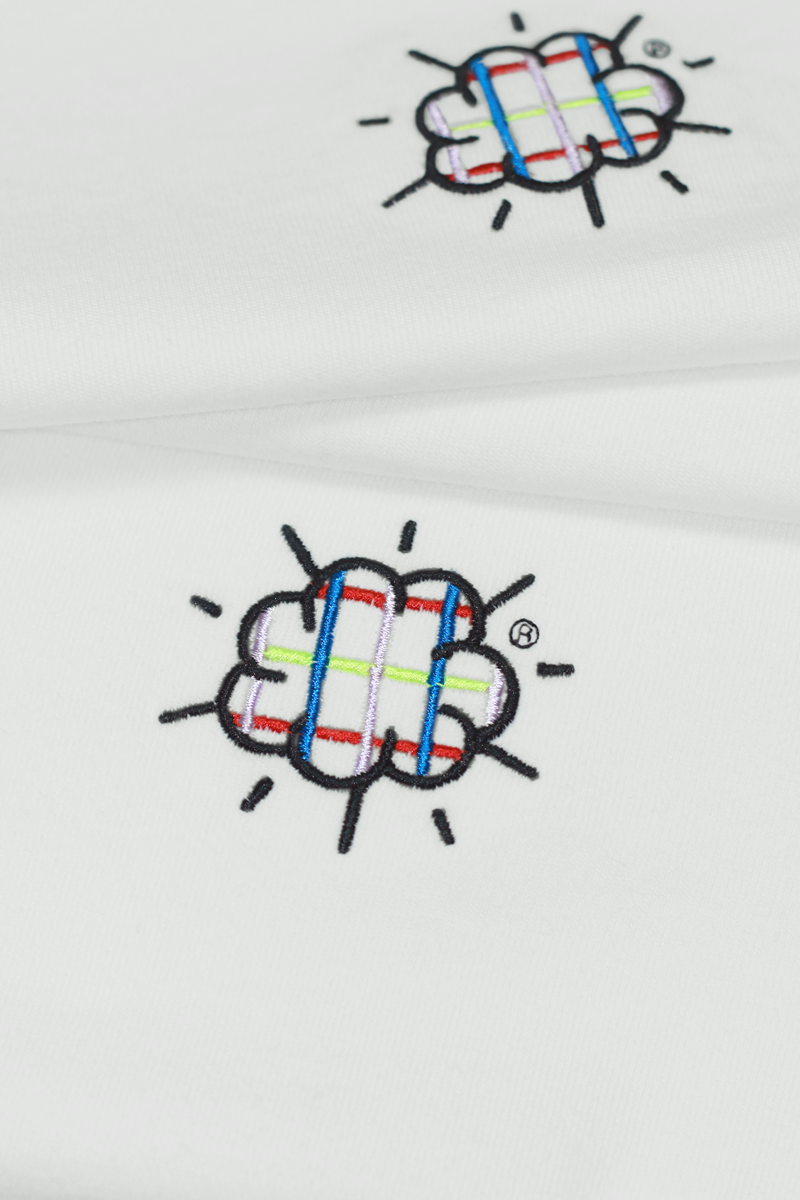 Graphic Embroidery Tee - The Cloud Embroidery Tee - Checks