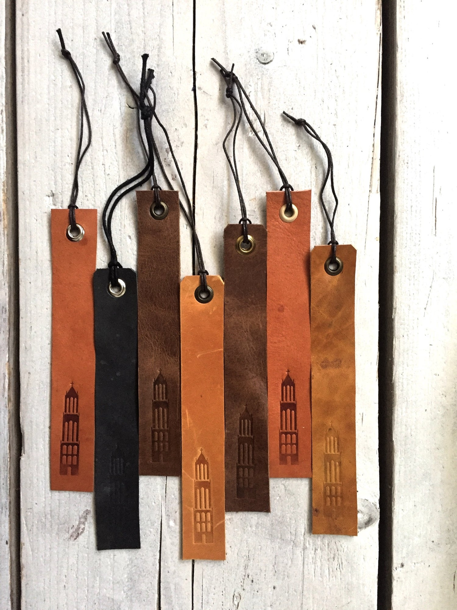 Image of Leather Bookmark - Leren Boekenlegger - Domtoren Utrecht - Dutch Souvenir