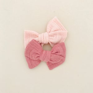 Image of Barrette coton ajouré rose