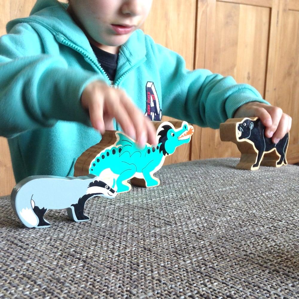Image of Sac de transport pour jouets + jouet en bois éthique