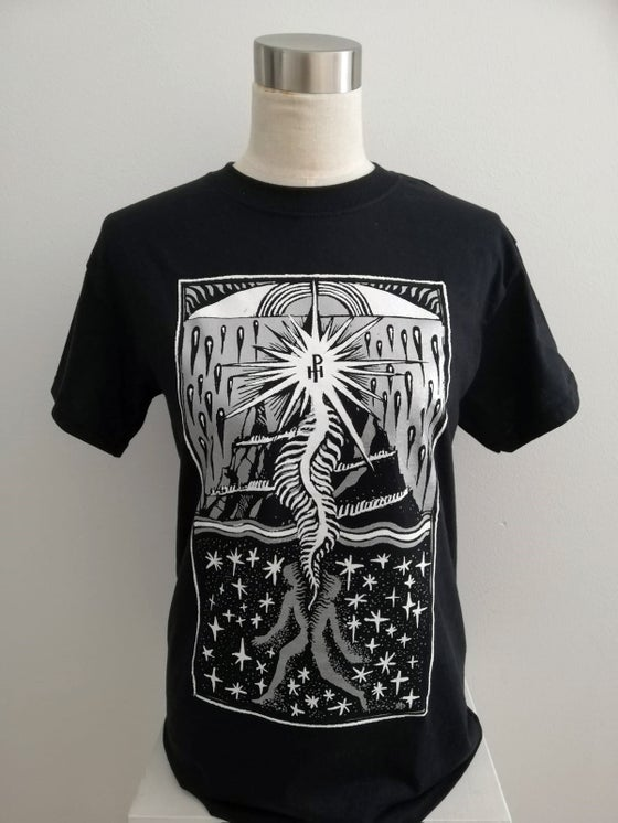 Image of Osiris T-shirt (silver and white on black)
