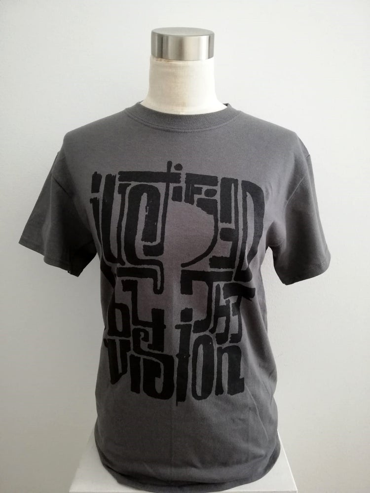 Image of Justified T-shirt (black on charcoal)