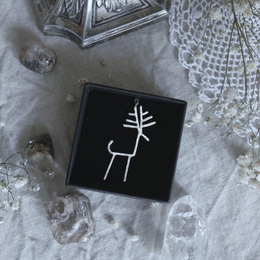 Image of DURATHROR. PETROGLYPH TALISMAN ↟ sustainable sterling silver - stag / elk / moose - unique