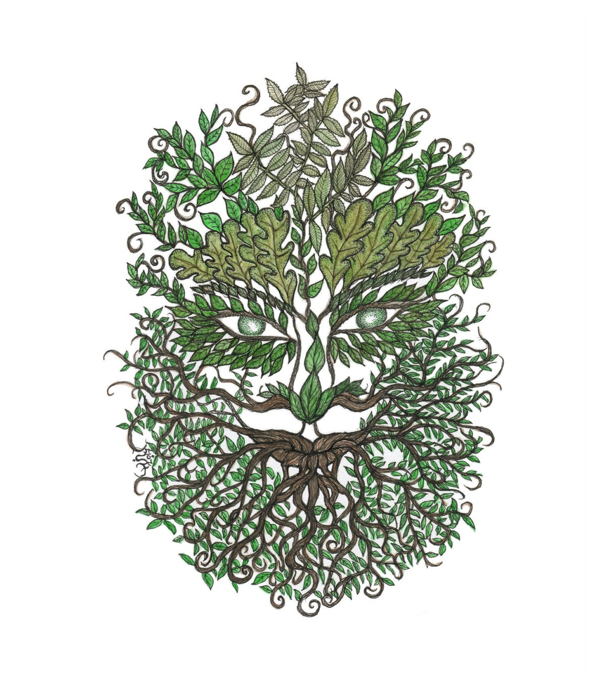 Bearded Green Man art print