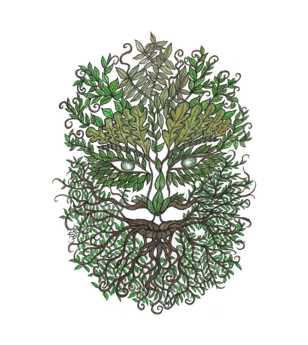 Bearded Green Man art print