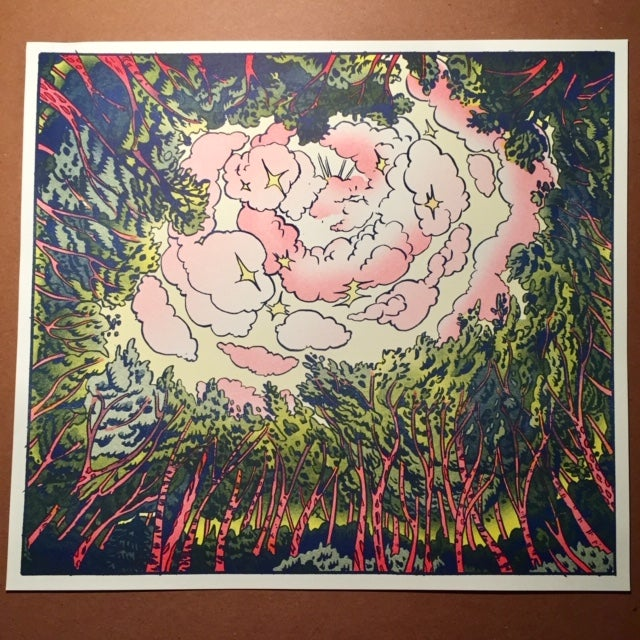 """""""The Clearing"""", Risograph Print from Grip 2"""