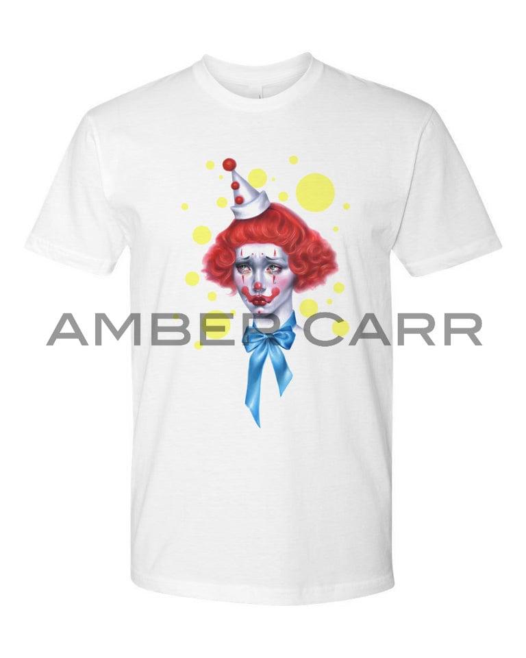 Image of Sad Clown White T-shirt 100% Cottom Premium Soft Unisex