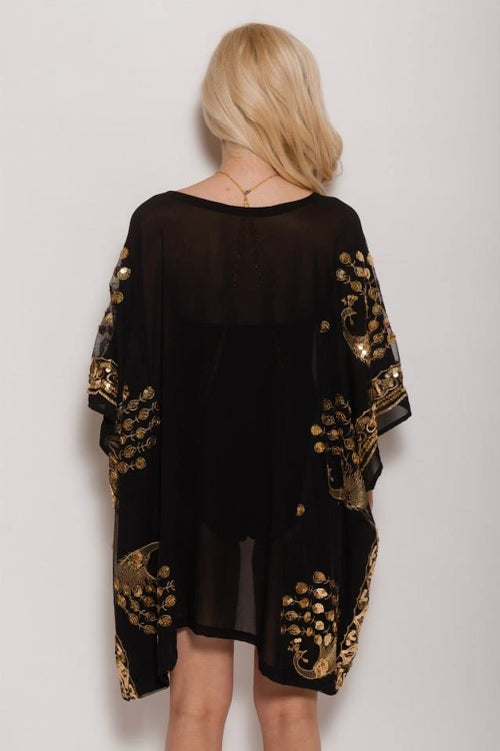 Image of Sequin Peacock Embellished Cover Up