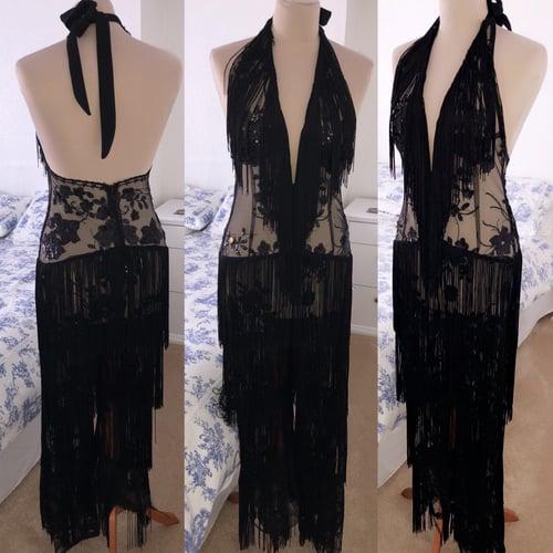 Image of Sequin Applique Tassel Jumpsuit