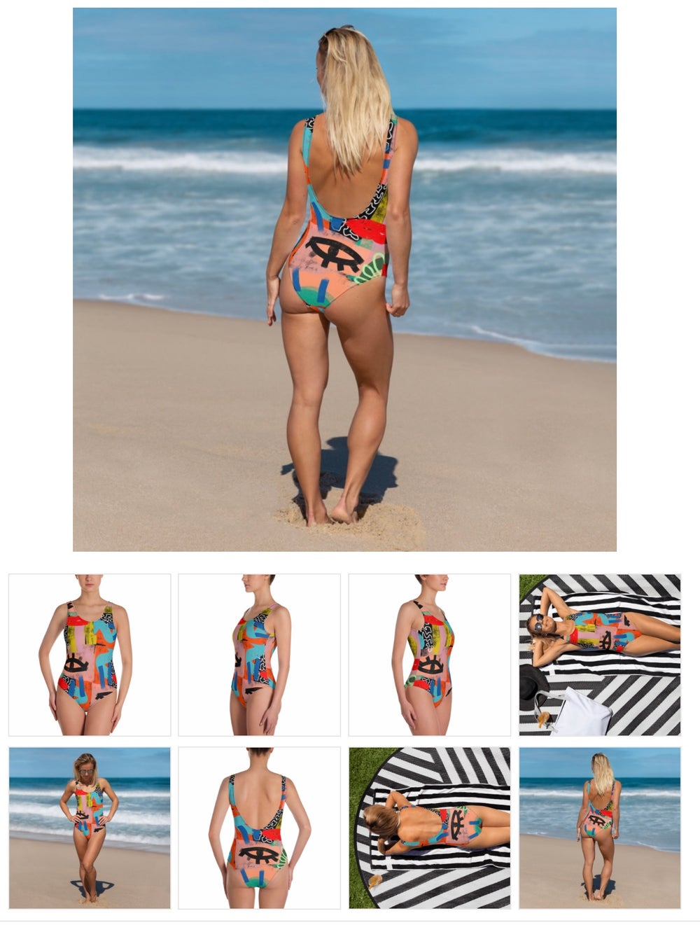 Image of Graffiti Printed Swimsuit