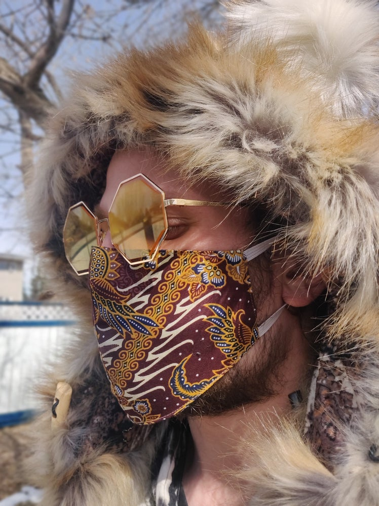 Image of Cabin Fever Cotton Mask Maroon/Yellow