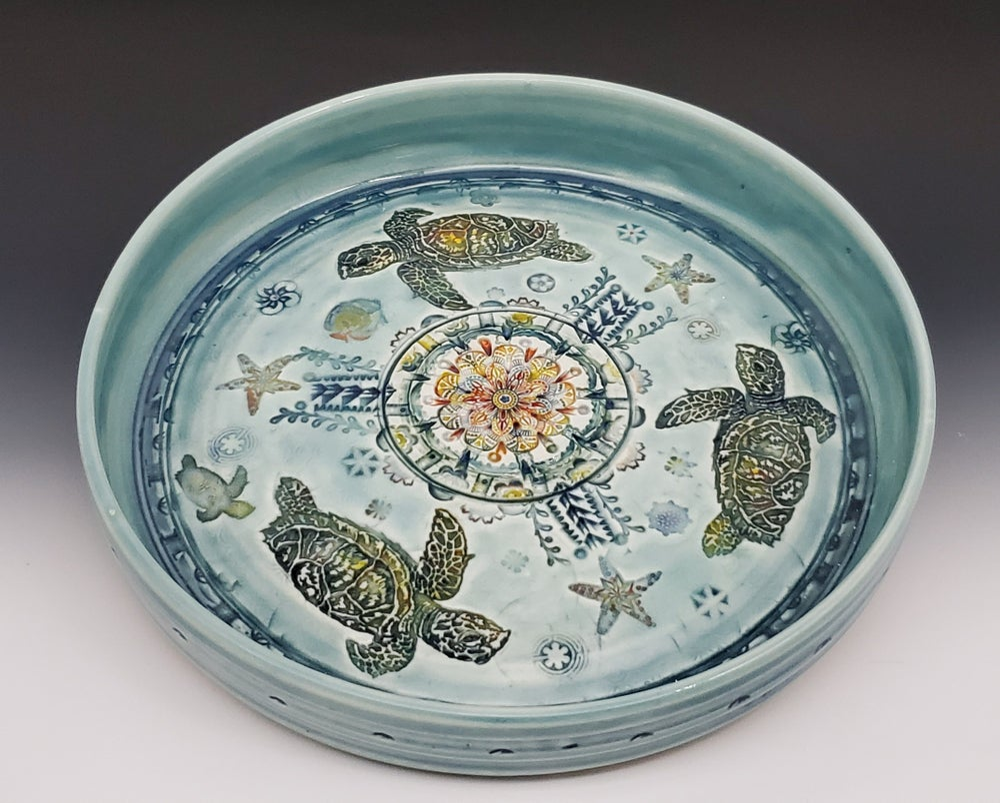 Image of Sea Turtle Porcelain Rimmed Platter