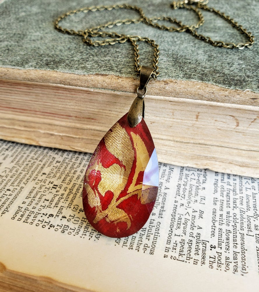 Image of Ruby & Gold Enamel Fused Crystal Pendant Necklace