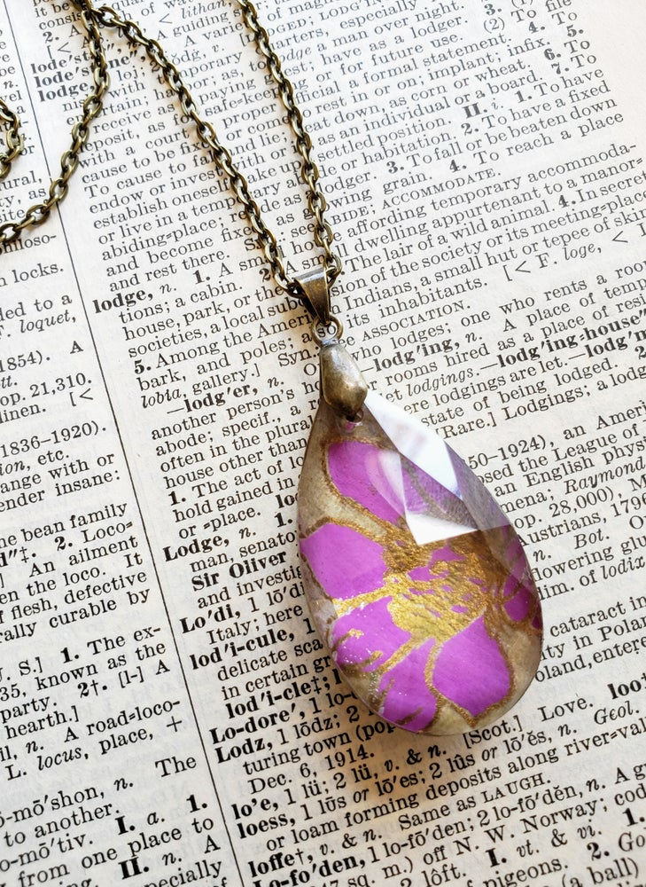 Image of Periwinkle Nepalese Block Print & Salvaged Crystal Necklace