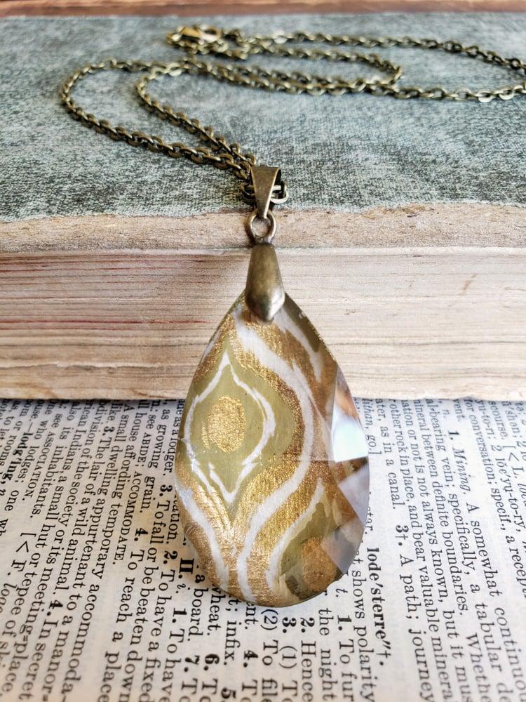 Image of Neutral & Gold Vintage Chandelier Crystal Pendant Necklace