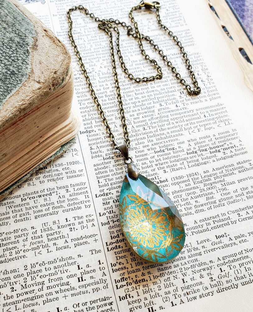 Image of Luminous Salvaged Crystal Pendant Necklace