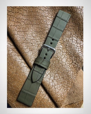 "Image of ""Rubber"" Alligator Waterproof strap - military green"