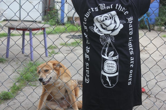 "Image of ""tears for the flowers but these hard times are ours"" shirt"