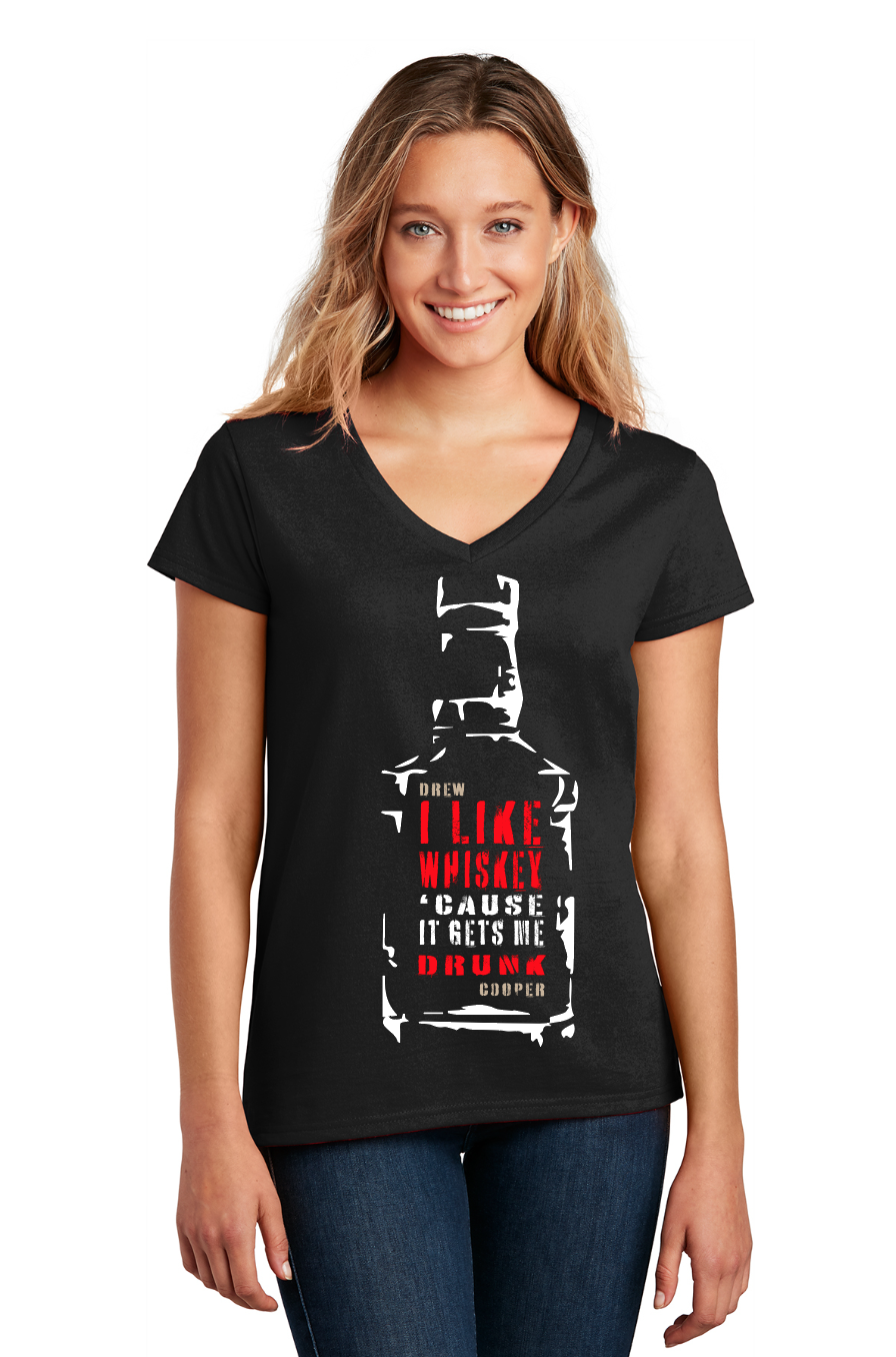 Image of R-RATED I Like Whiskey 'Cause It Gets Me Drunk Womens VNeck (PREORDER)