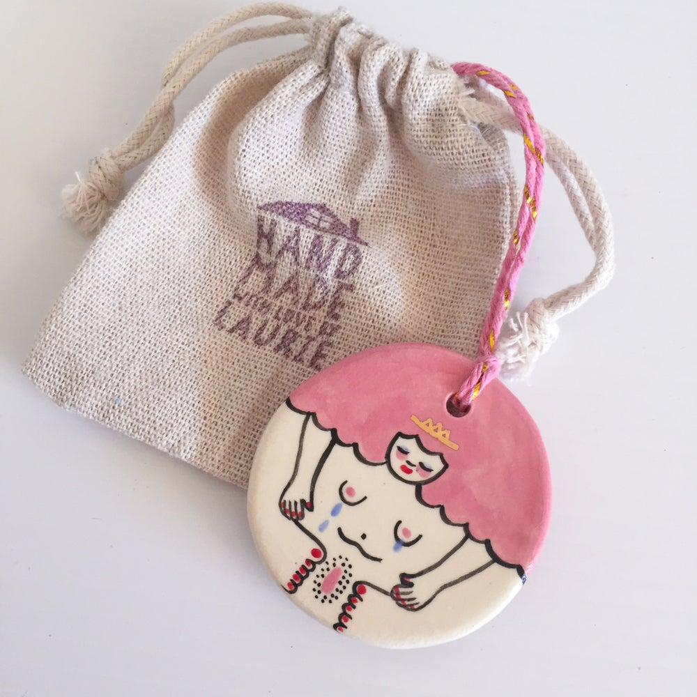 Image of Pink Lady Roundie - Mothers Milk - Hanging Ornament