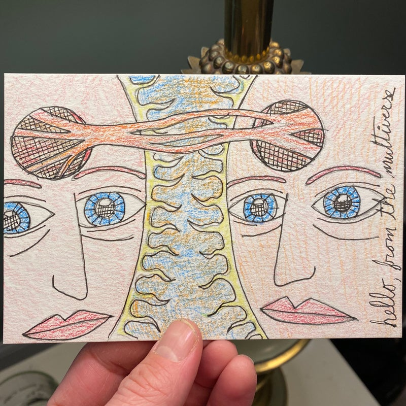 Image of hello from the multiverse (mail art)