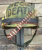 Image of Vietnam M-1 Helmet Westinghouse-CAPAC liner Mitchell Camo Cover USMC Rations I AM BECOME DEATH