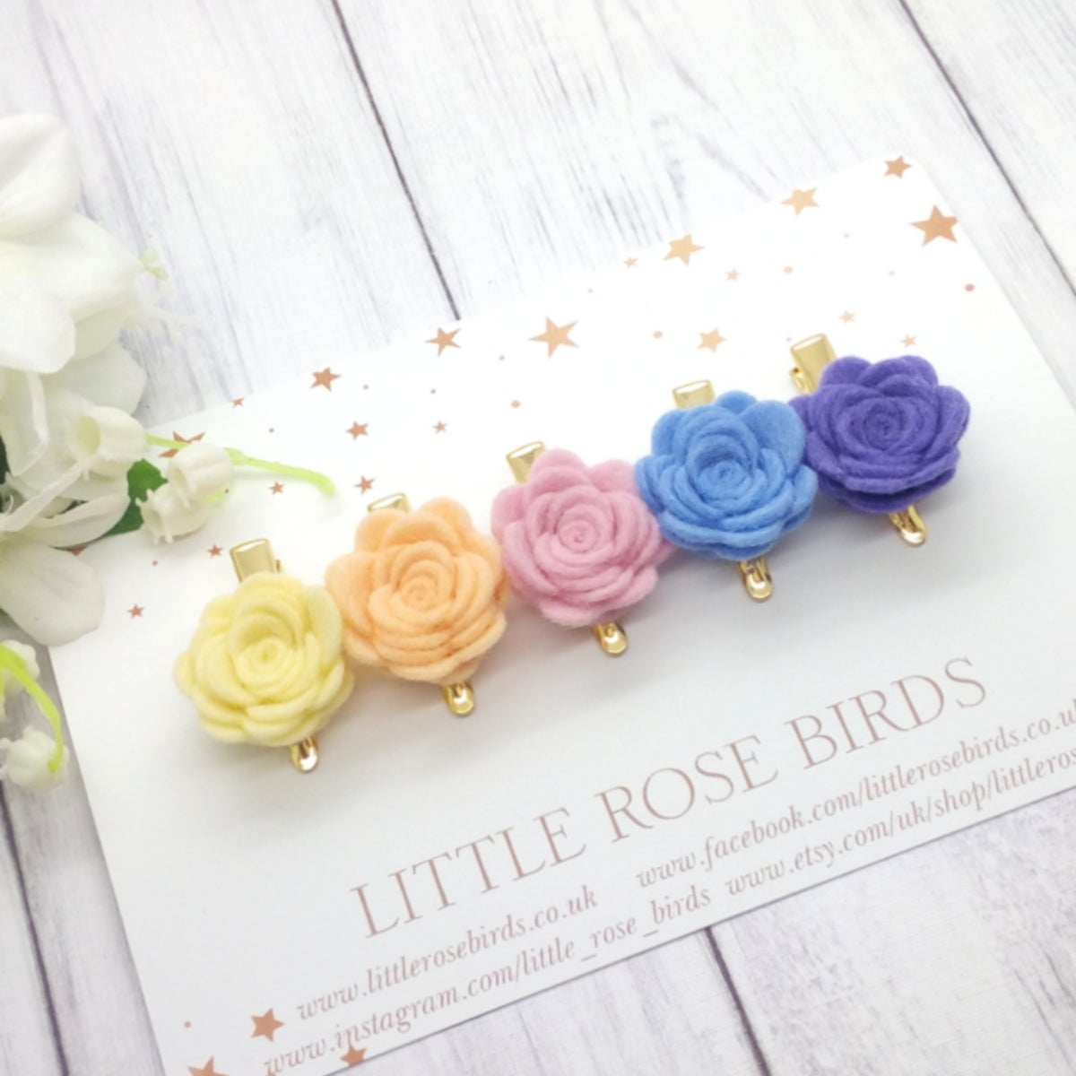 Image of SET OF 5 Small Roses on Clips or Headbands