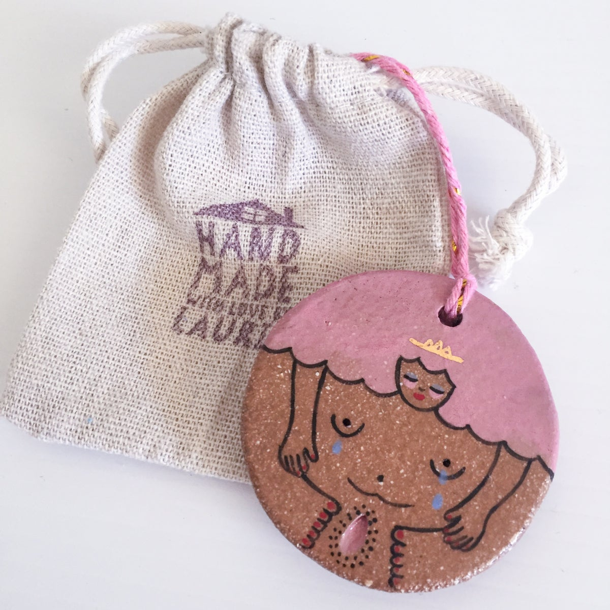 Image of Pink Lady Roundie- Mothers Milk - Hanging Ornament