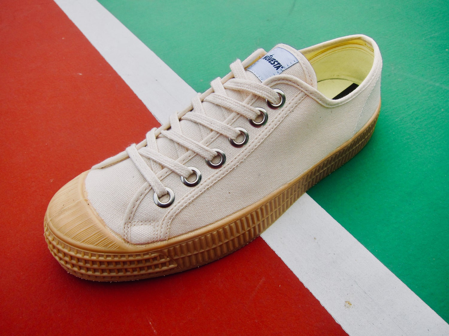 Image of Novesta master lo beige canvas gum sole sneaker shoes made in Slovakia