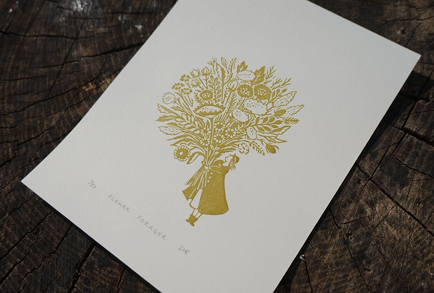 Image of Flower Forager - Linocut