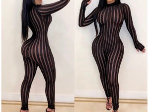 "Image of ""Show Out"" Sheer Stripe Jumpsuit"