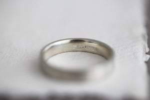 Image of 9ct white gold, 4mm Flat Court Matte ring