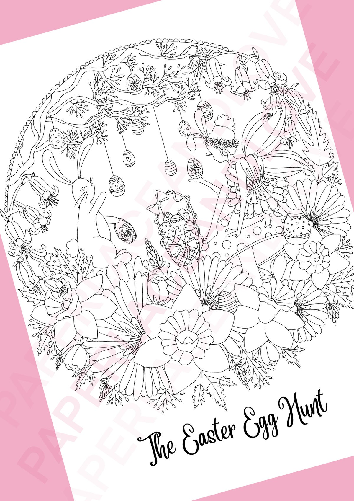 Image of Easter Egg Hunt Colouring Pages set of 3