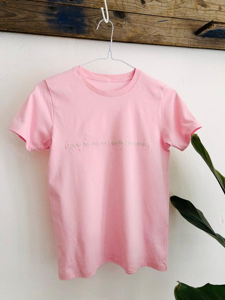 Image of LOKAH SAMASTAH SUKHINO BHAVANTU – multi-colored – cotton pink kids t-shirt