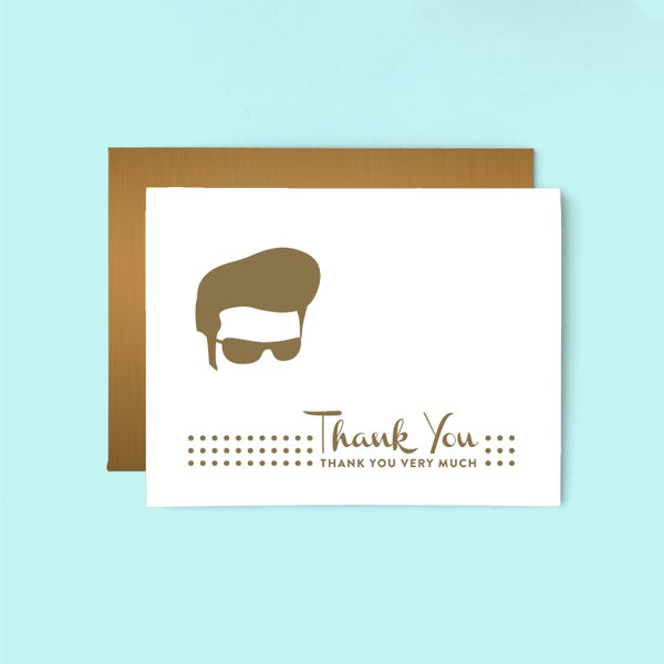 Image of elvis thank you letterpress card - thank you very much - gold elvis presley