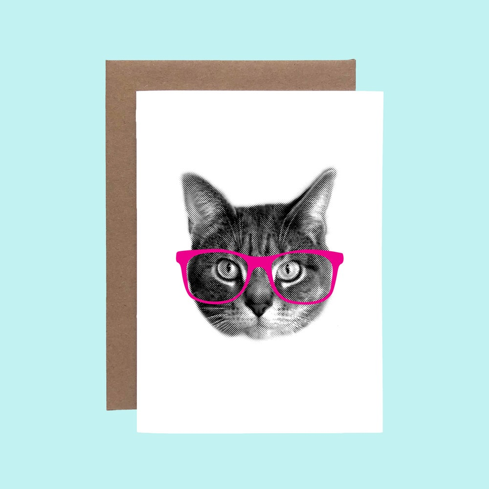 Image of gee whiskers series: pink nerd cat greeting card - hipster kitty - glasses cat
