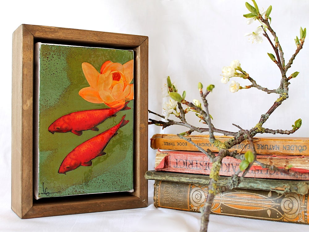 "Image of Original Framed Canvas - 4"" x 6"" - Koi and Lily"