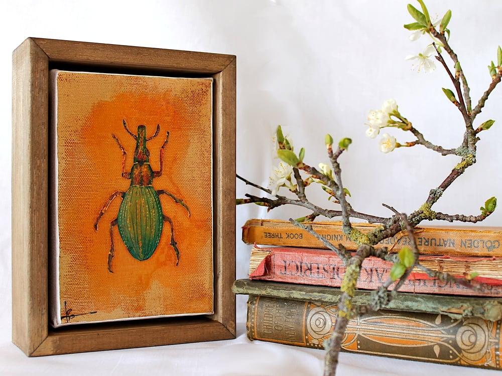 """Image of Original Framed Canvas - 4"""" x 6"""" - Beetle#1"""
