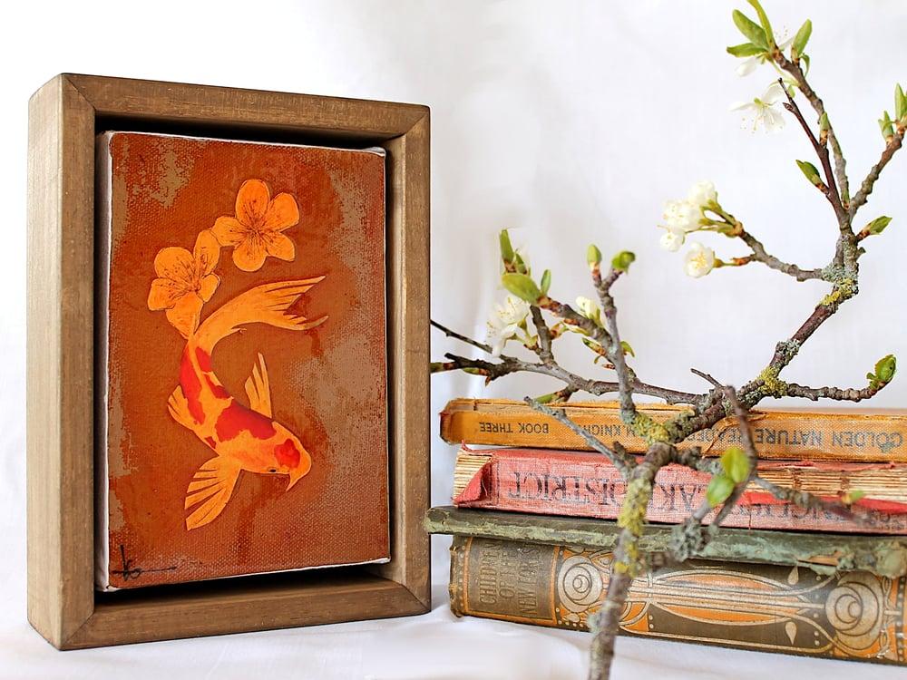 """Image of Original Framed Canvas - 4"""" x 6"""" - Koi and Blossom"""