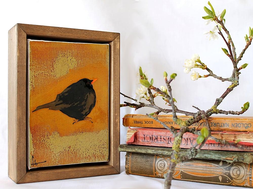 "Image of Original Framed Canvas - 4"" x 6"" - Blackbird"