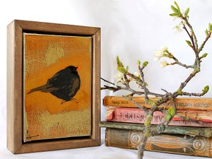 "Image of Original Framed Canvas - 4"" x 6"" - Blackbird"