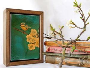 """Image of Original Framed Canvas - 4"""" x 6"""" - Blue Tit"""